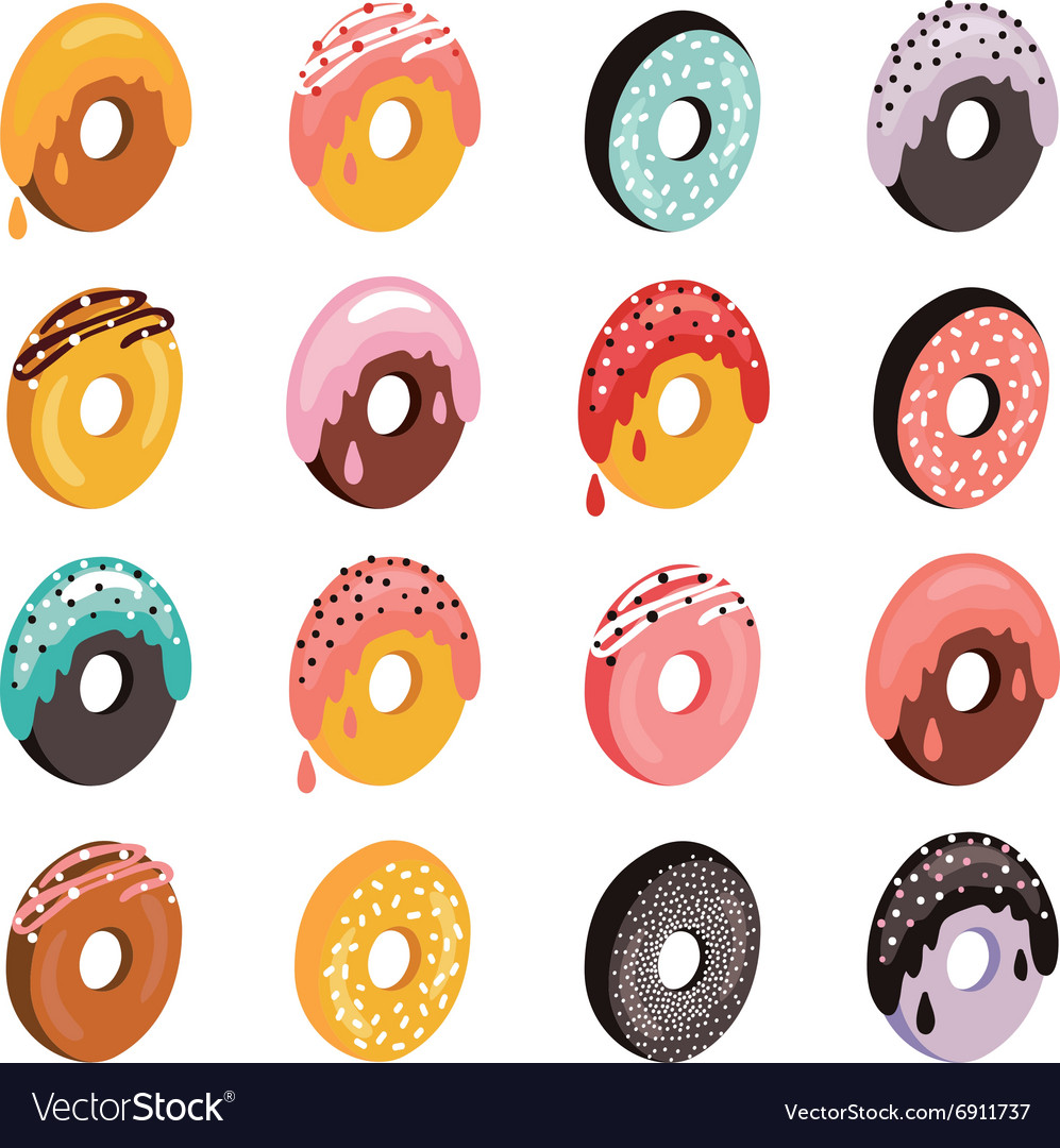 Delicious donut icon set sweet dessert flat vector