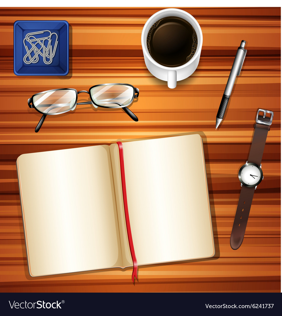 Notebook on table with other accessories vector