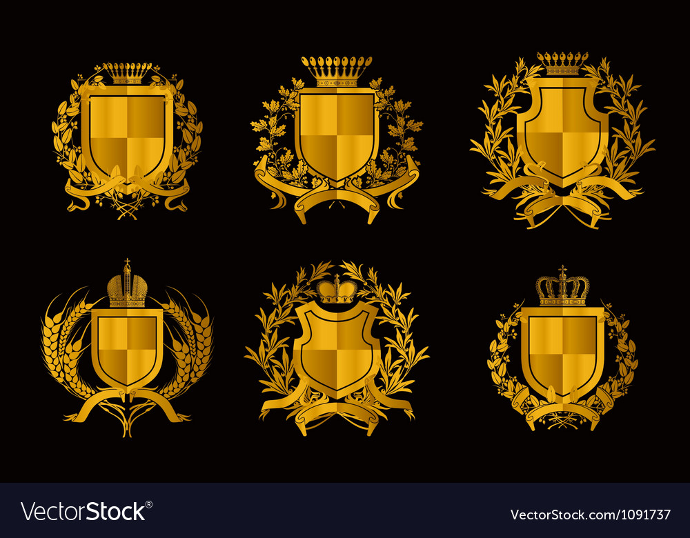 Shields set of design elements vector