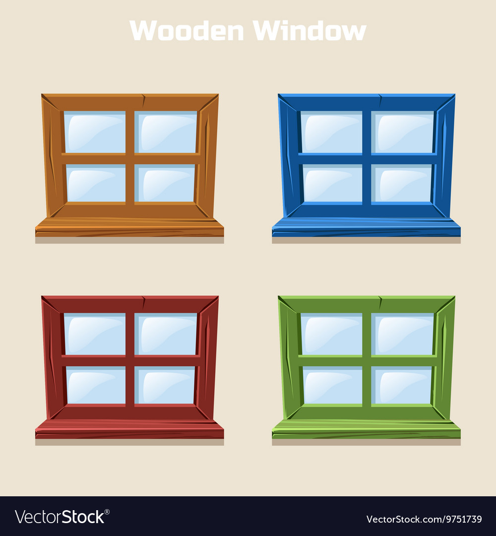 Cartoon wooden colorful window vector