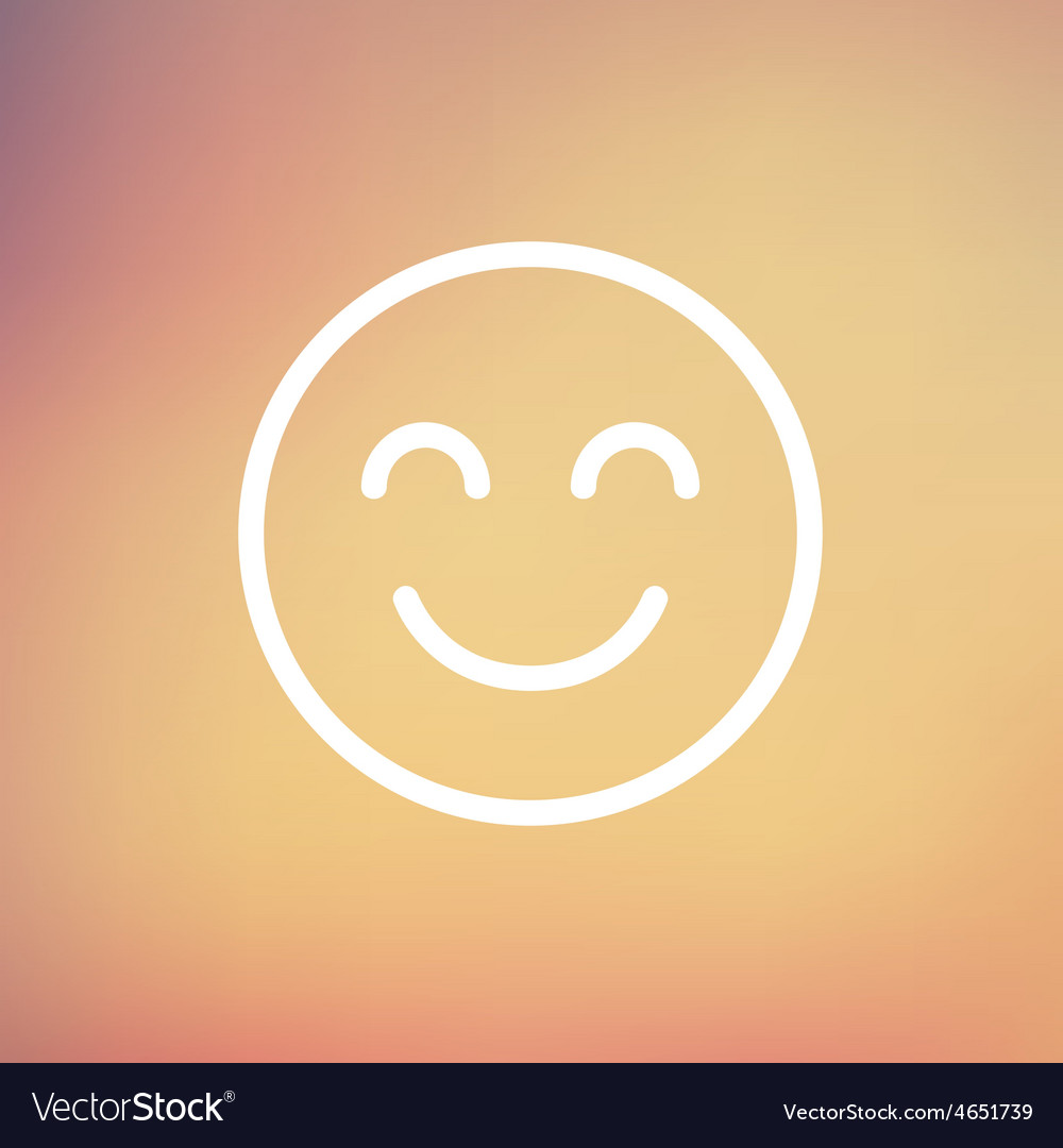 Cute smile thin line icon vector