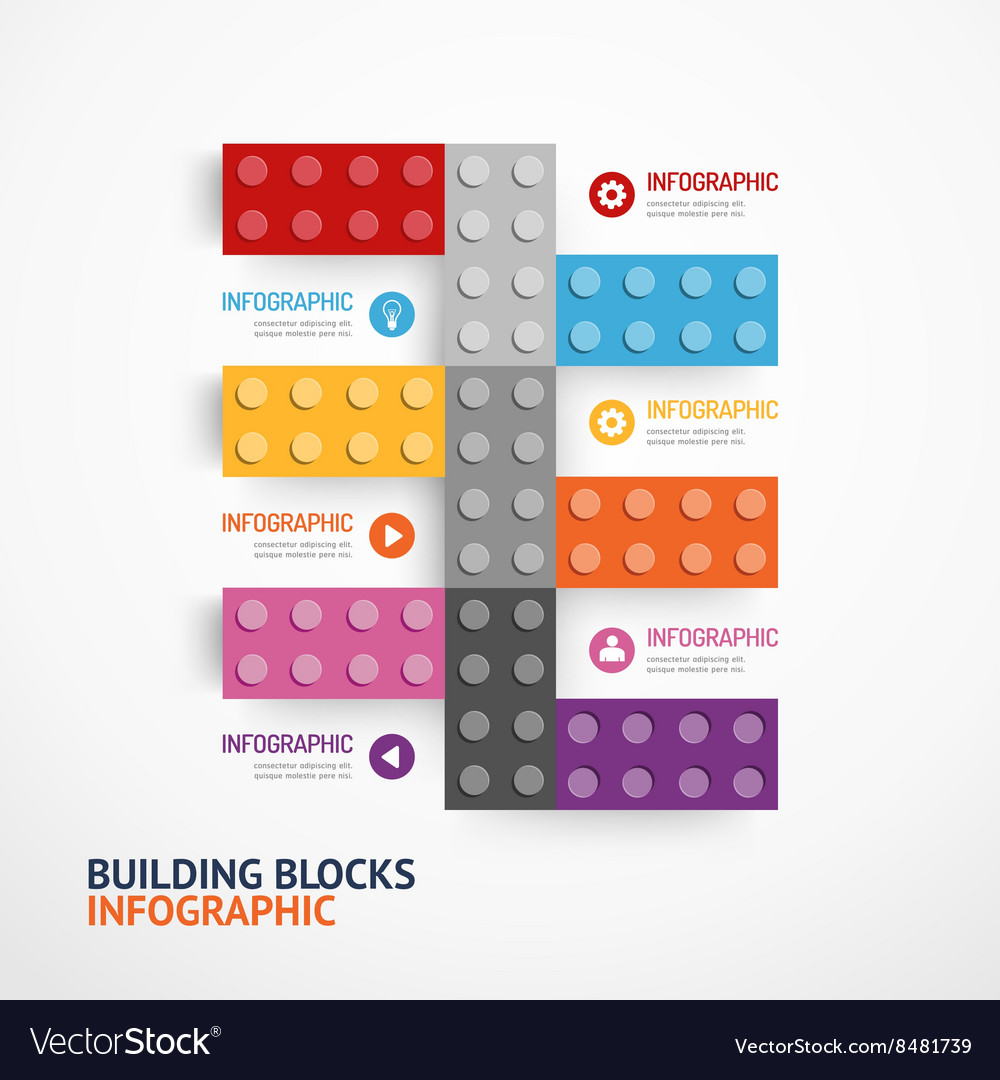 Infographic color building blocks banner template vector