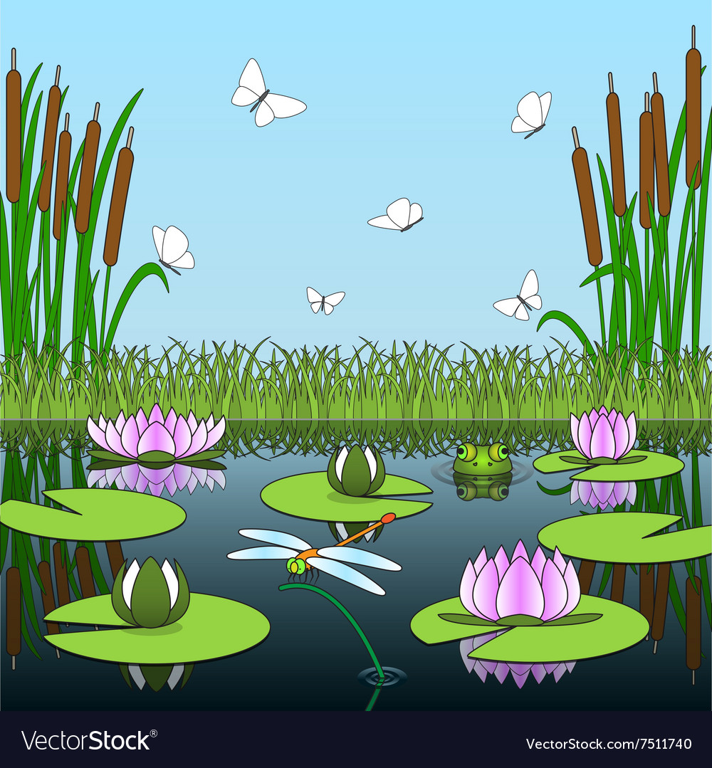 Colorful cartoon background with pond inhabitants vector