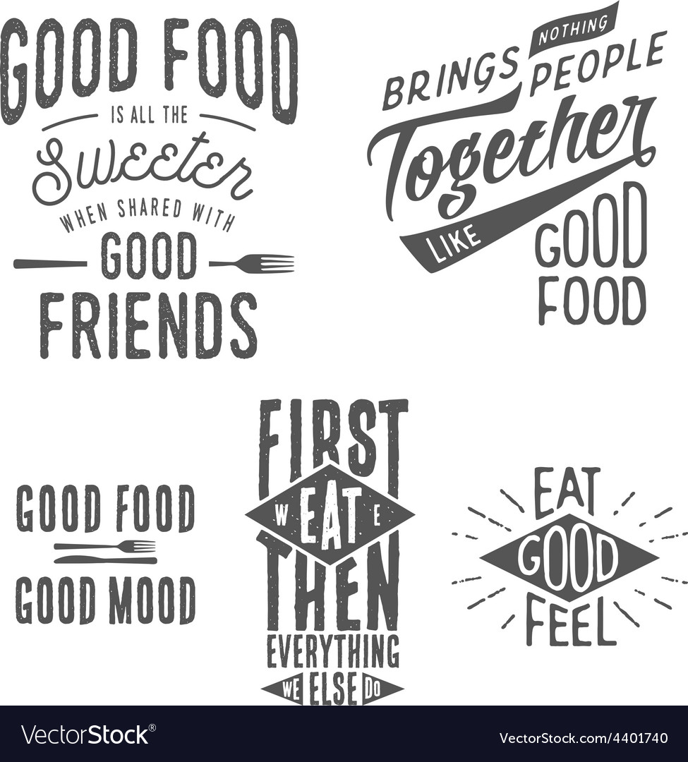 Vintage food related typographic quotes vector
