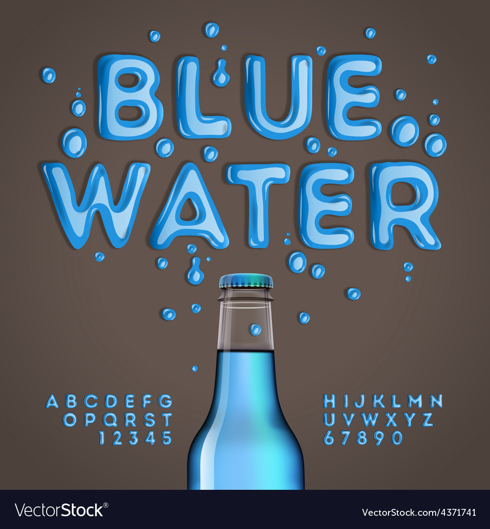 Blue water alphabet and numbers vector