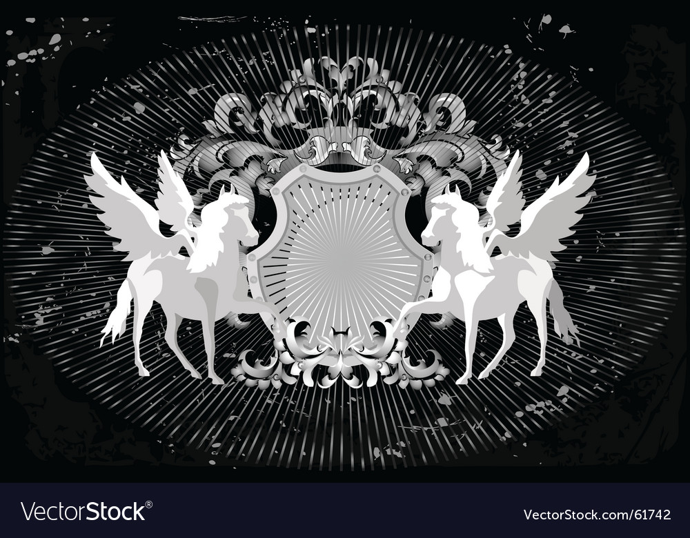 Horses and wings vector
