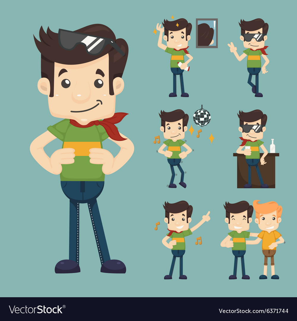 Set of man relax eps10 format vector