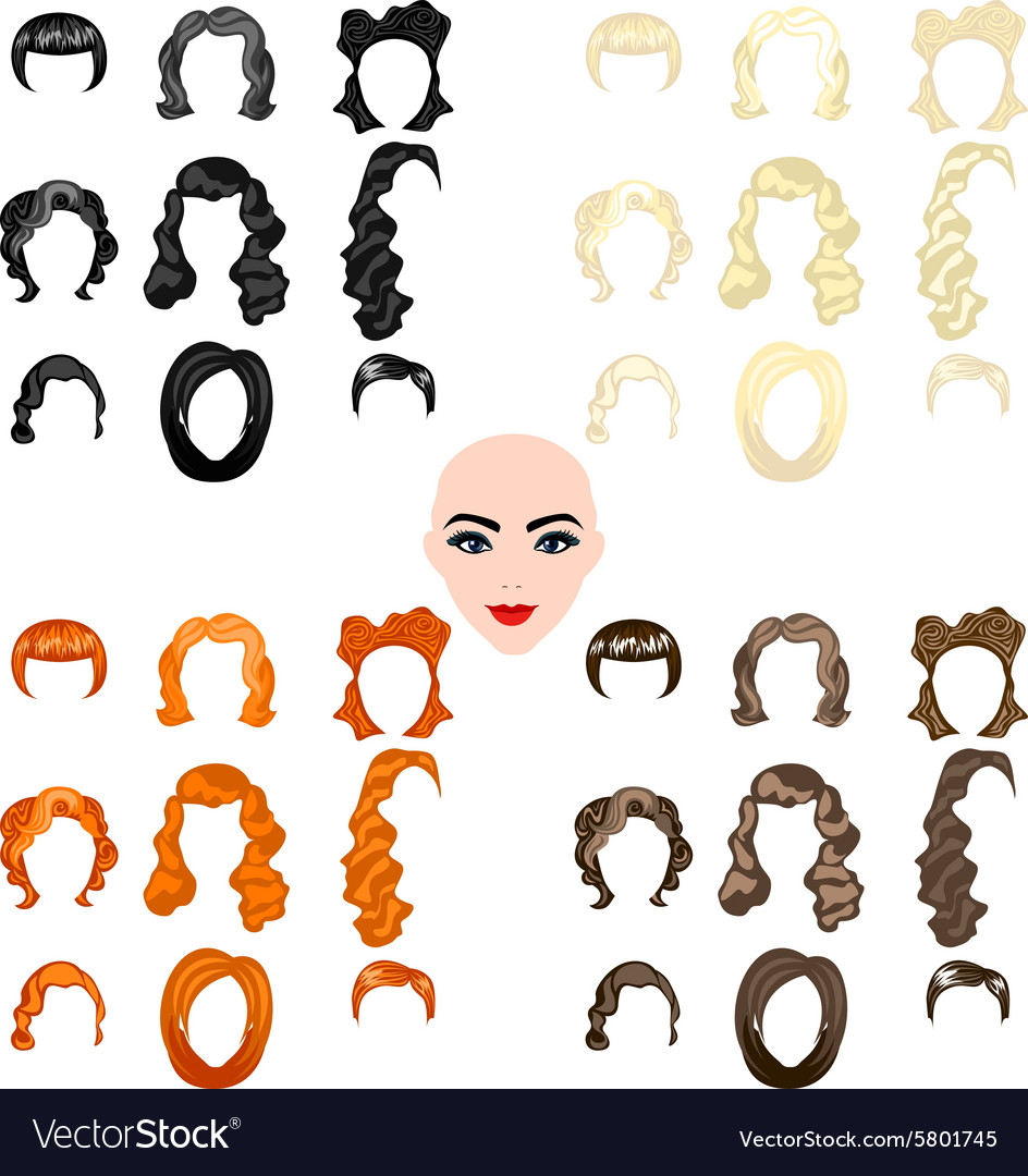 Cute of beautiful young girls with various hair vector