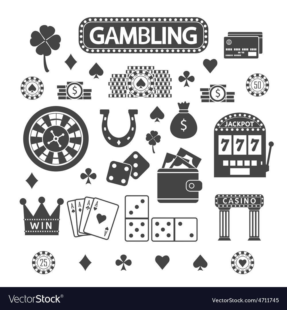 Gambling silhouette icons set vector