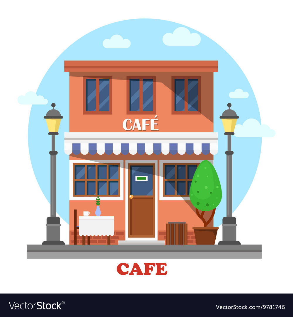 Architecture of cafe street exterior view vector