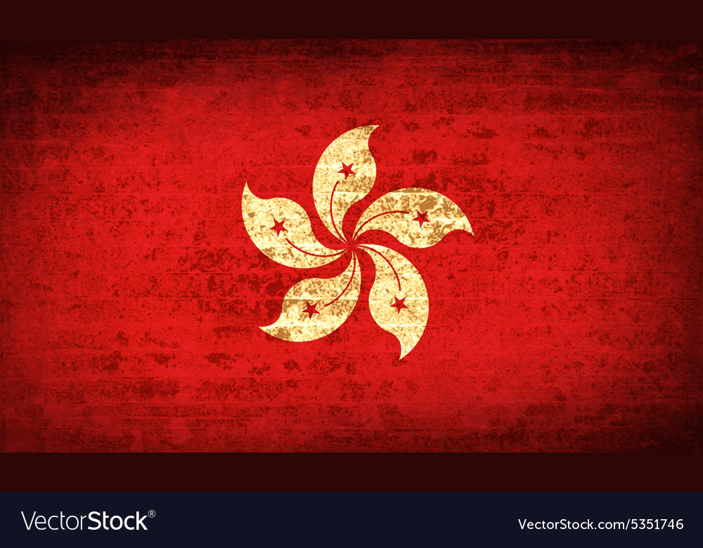 Flags hong kong with dirty paper texture vector