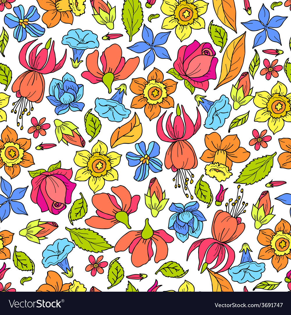 Flowers pattern colored vector