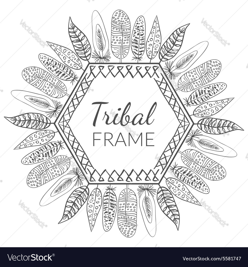 Hand drawn feathers frame vector