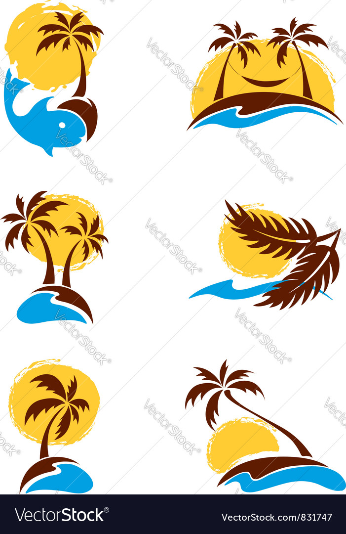 Set of logotypes  palm trees vector