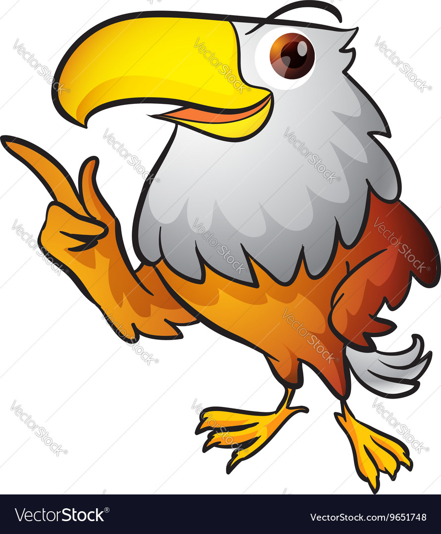 Cute eagle mascot pointing vector