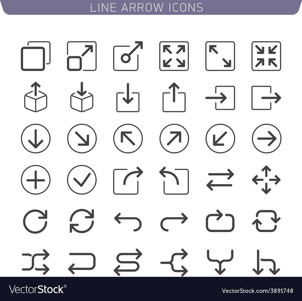 Line arrow icons vector
