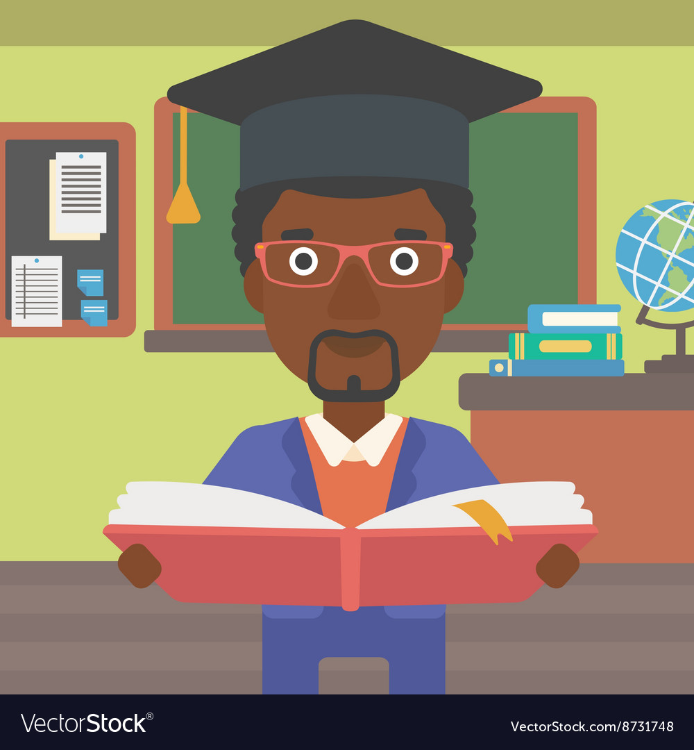 Man in graduation cap holding book vector