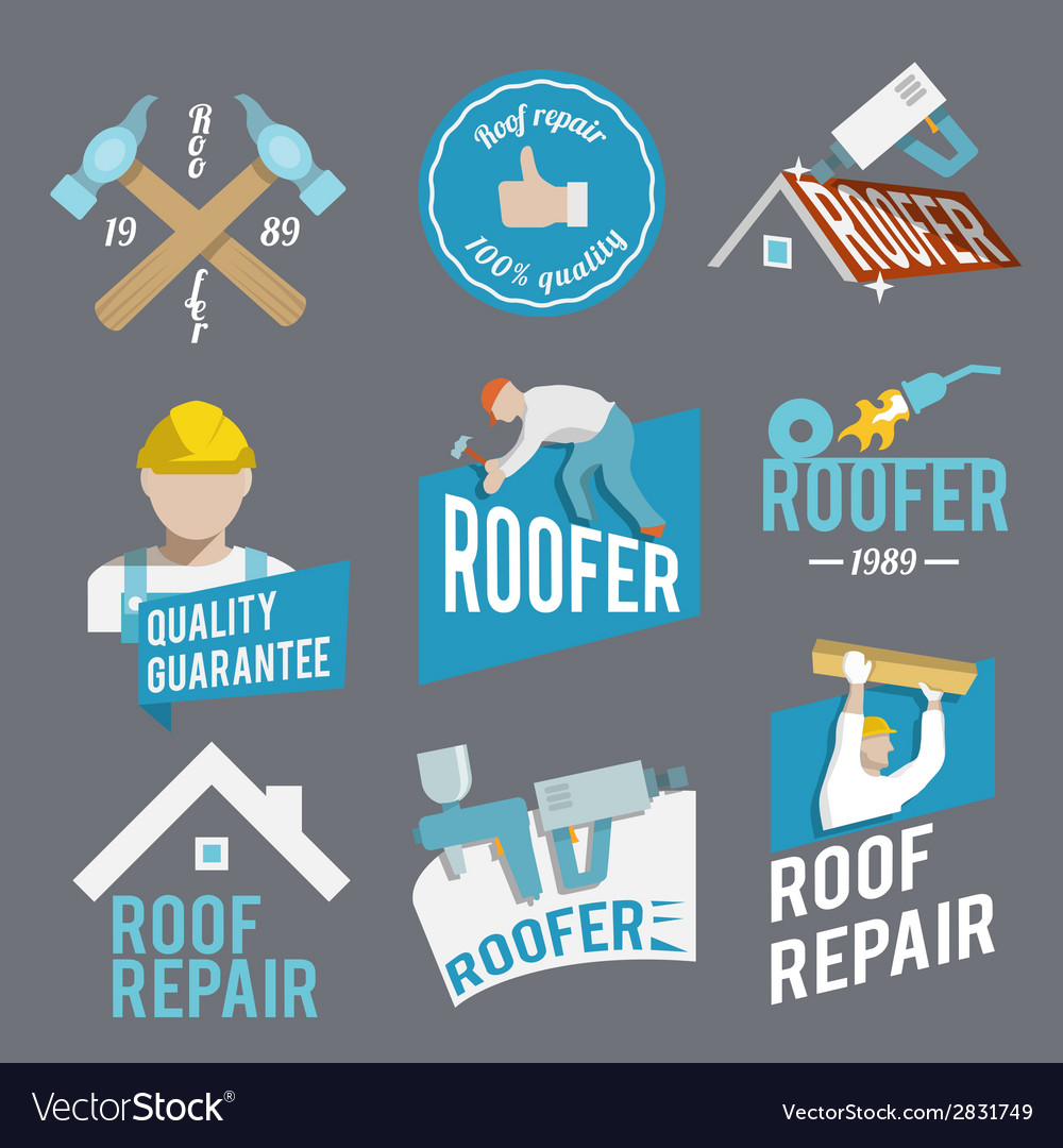 Roofer label set vector
