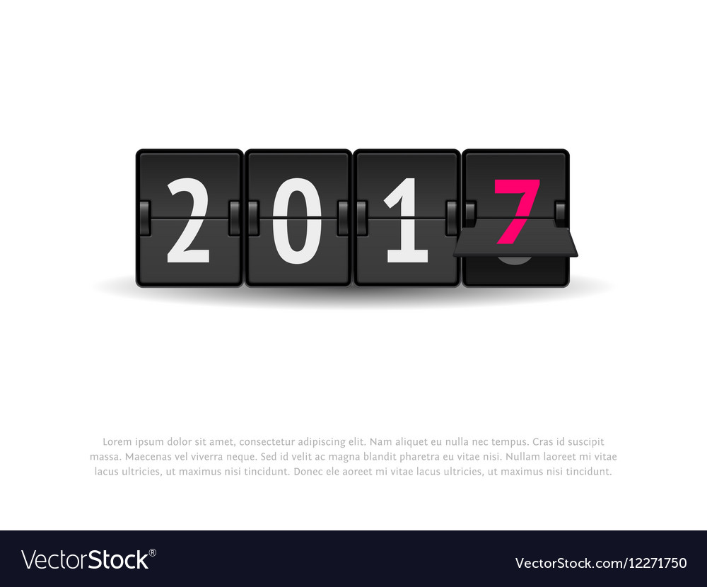 New year concept flip clock changing to 2017 vector