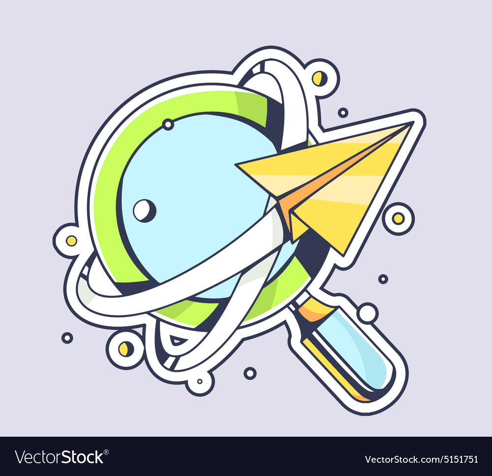 Yellow paper plane flying around blue mag vector