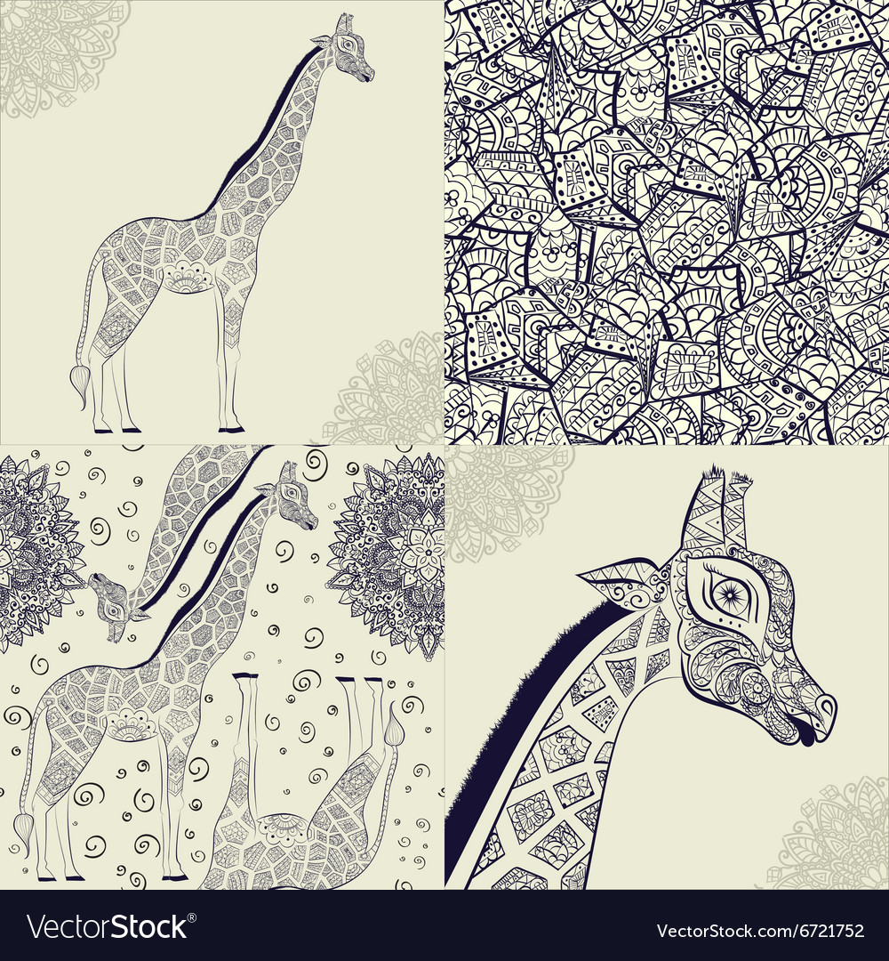Beautiful adult giraffe hand drawn vector