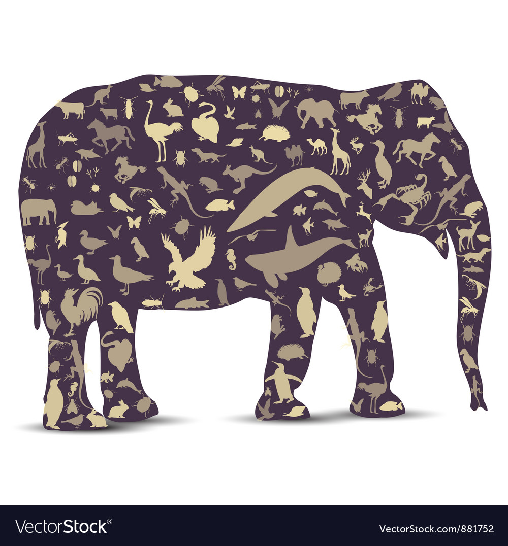 Elephant globe outline made from animals icons vector