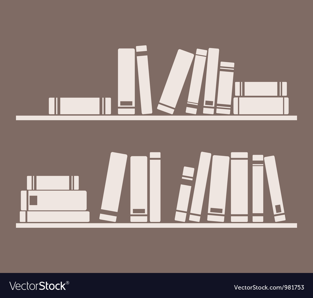Books on the shelf interior design vintage vector