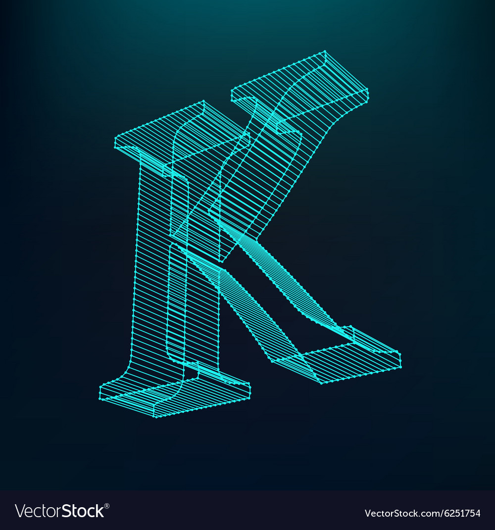 Letter k polygonal letter low poly model vector