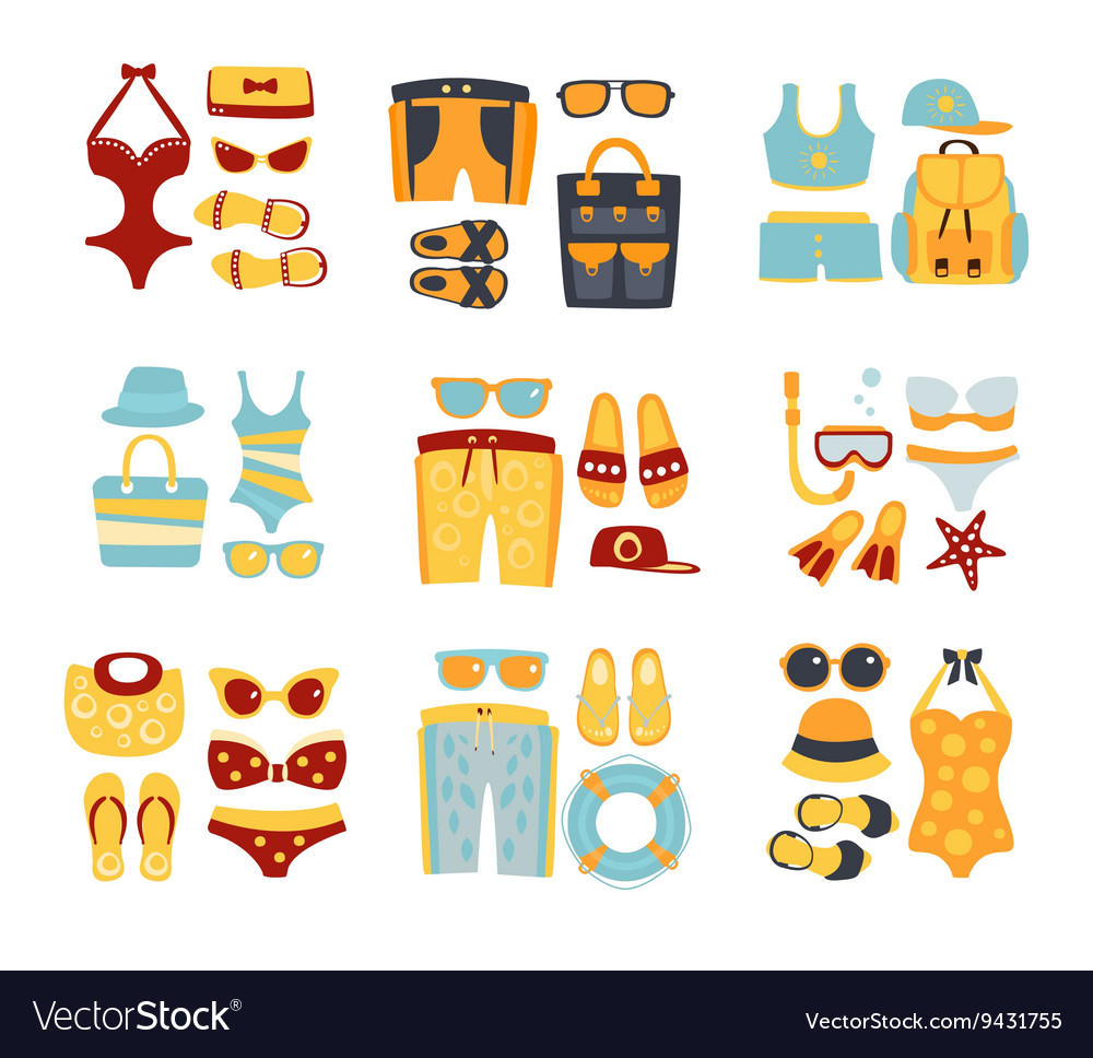 Beach outfit sets of clothing and accessories vector