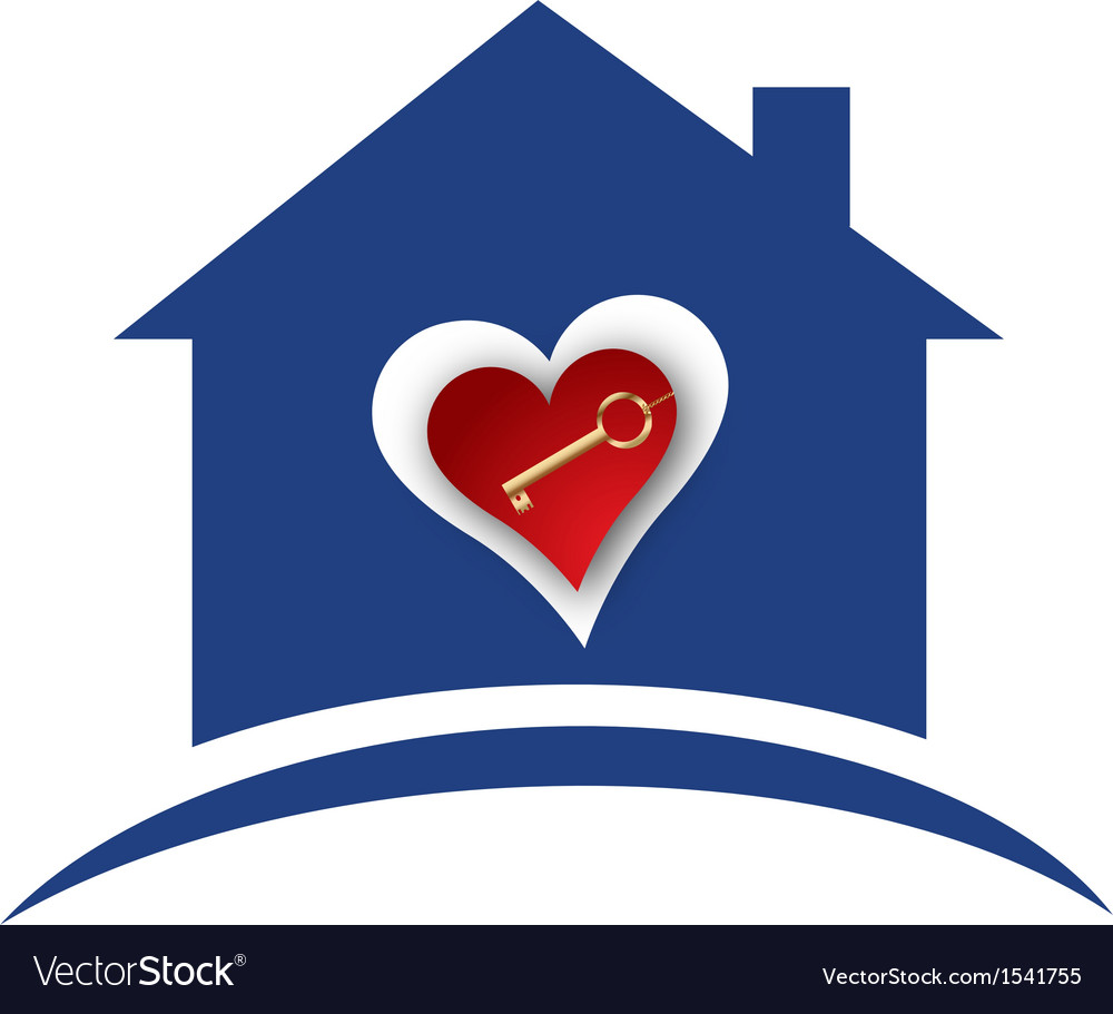 House with heart and gold key logo vector