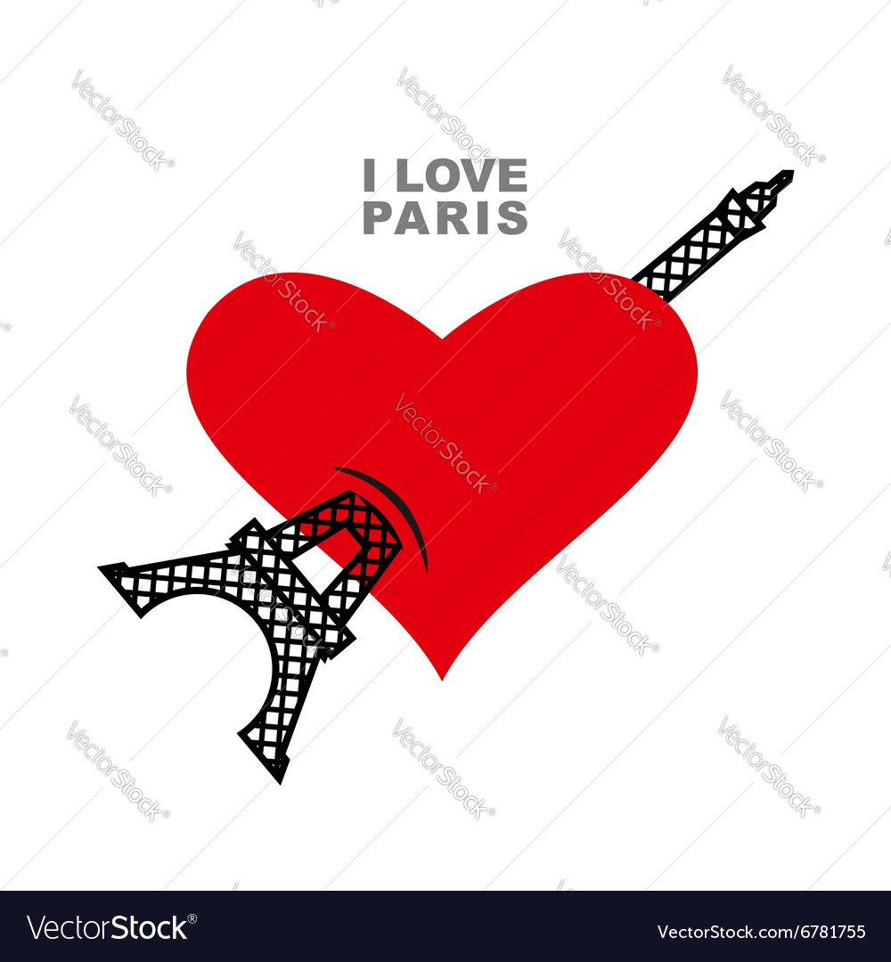 I love paris red heart symbol of love and eiffel vector