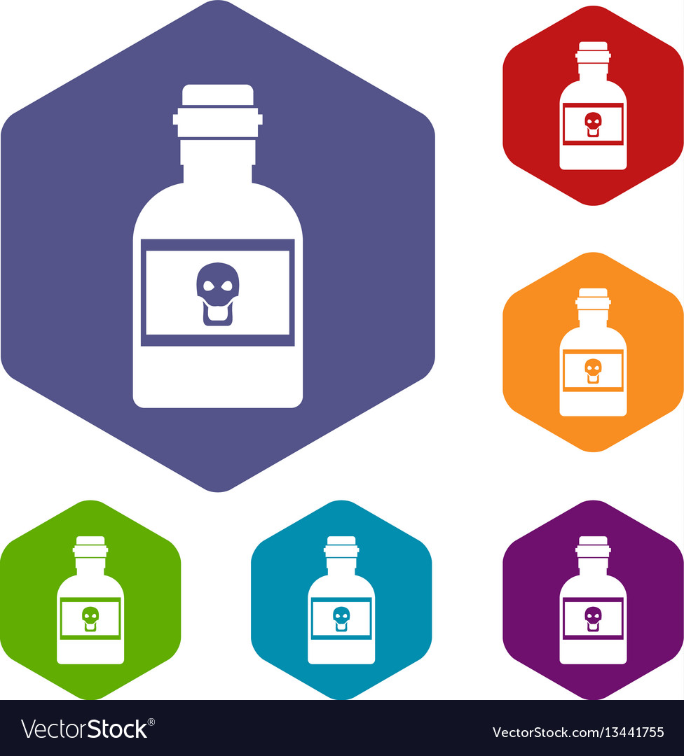 Poison bottle icons set vector