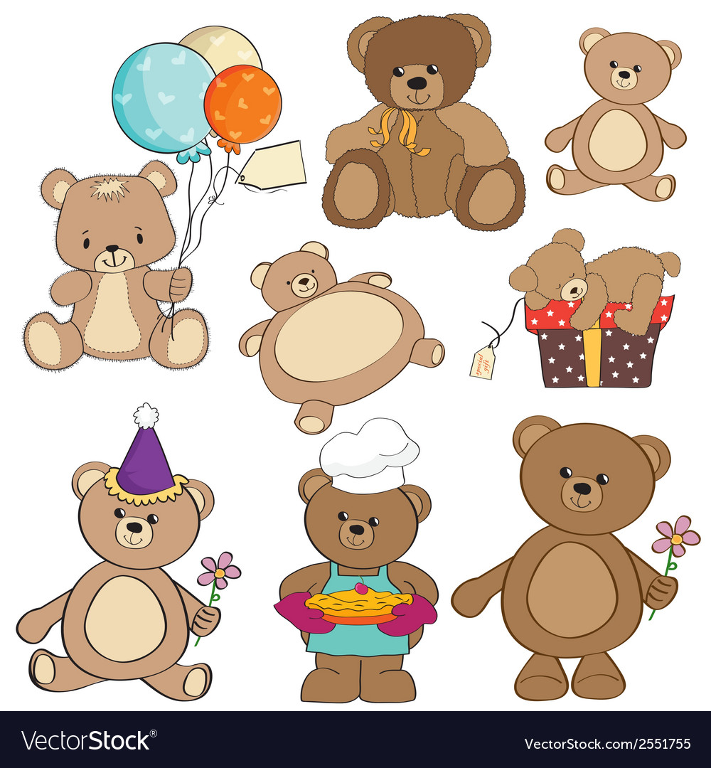 Set of different teddy bears items for design in vector