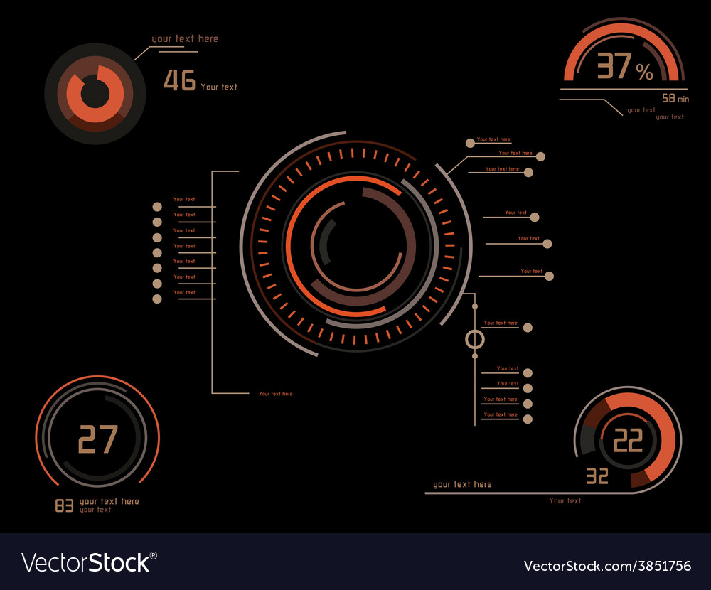 Orange infographics as headup display vector