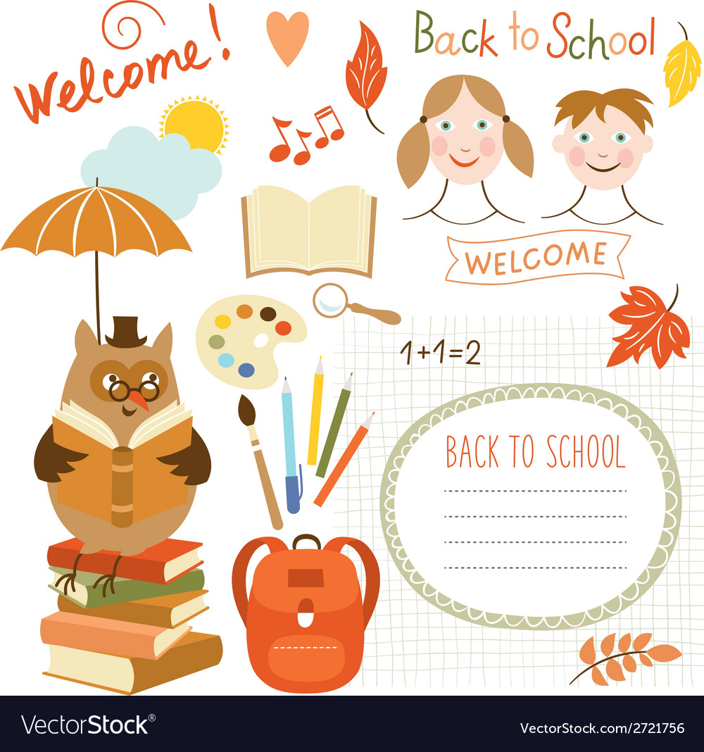 Set of back to school elements school supplies vector