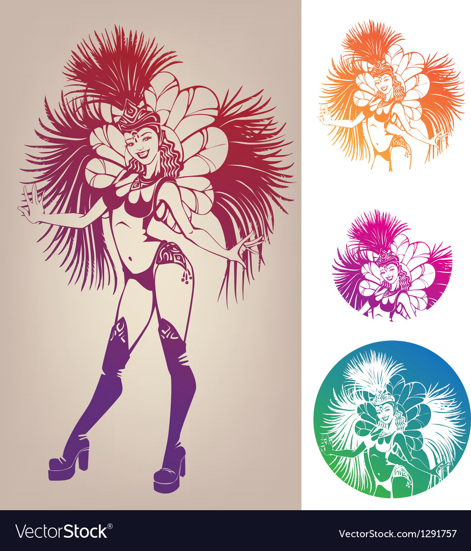 Ink linework dancing girl in carnival feather vector