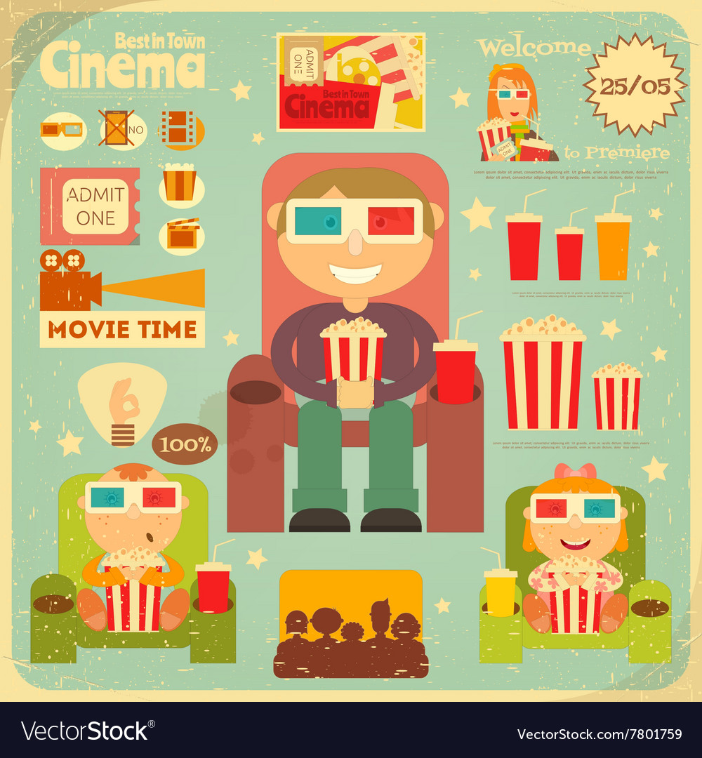 Cinema retro poster vector
