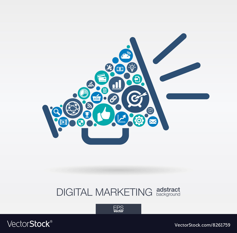 Flat icons in a speaker shape digital marketing vector