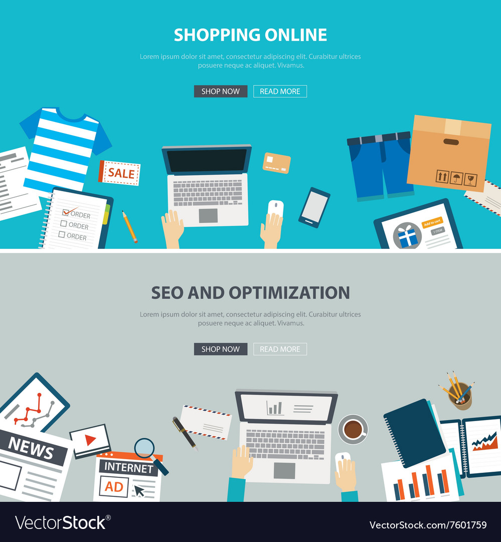 Online shopping concept with seo optimization vector