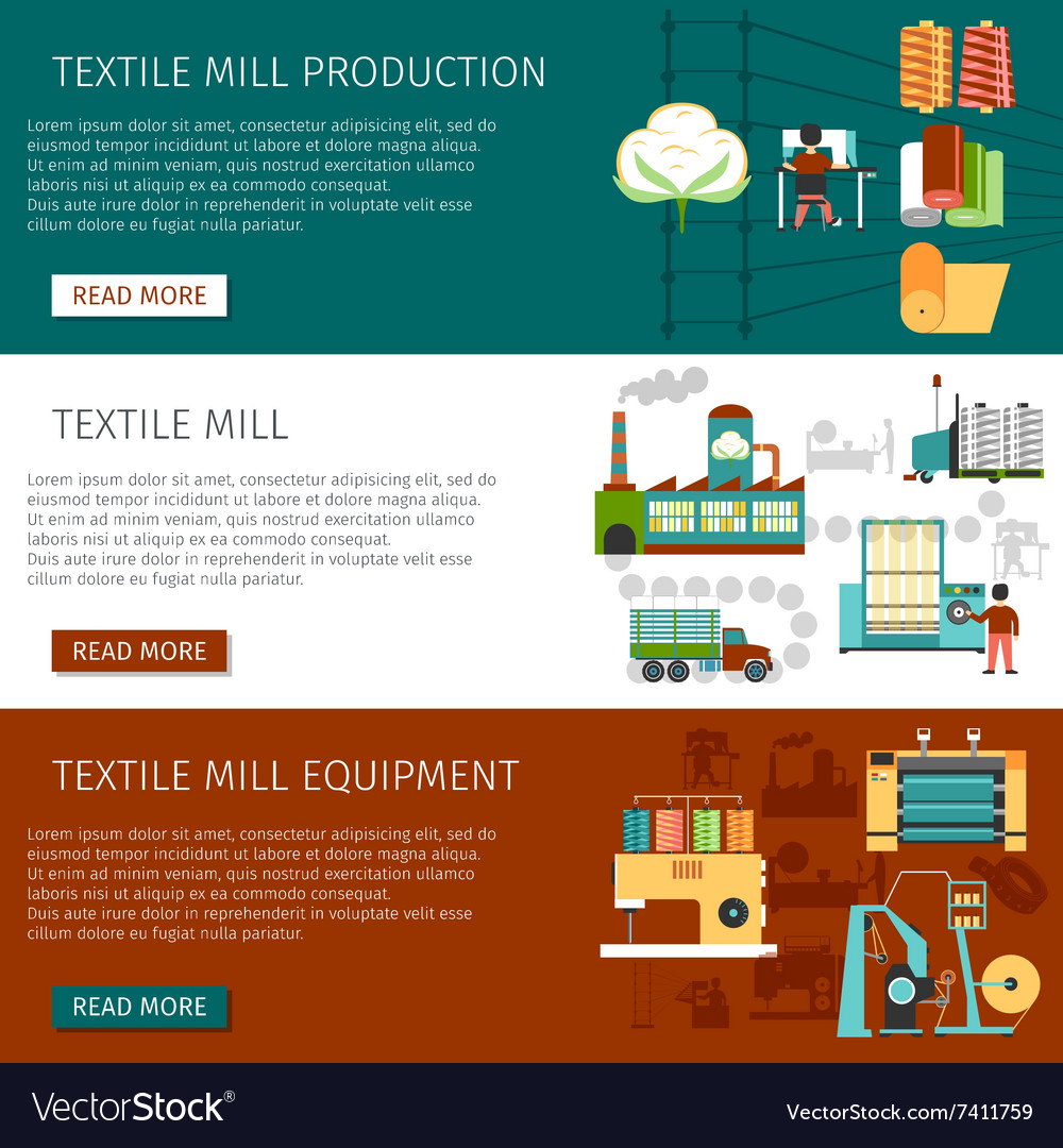 Textile mill flat horizontal banners set vector