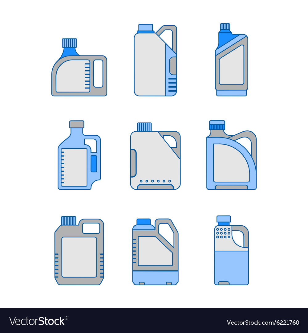 Blank plastic canisters flat icons vector