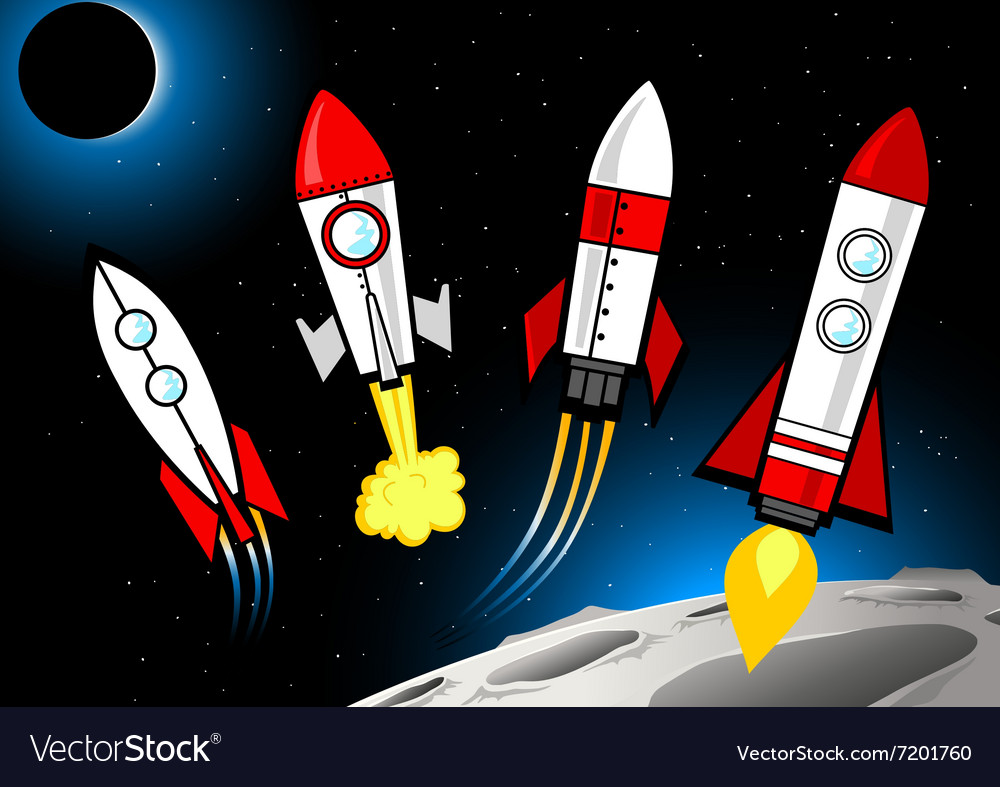 Different rockets types in deep space next to moon vector