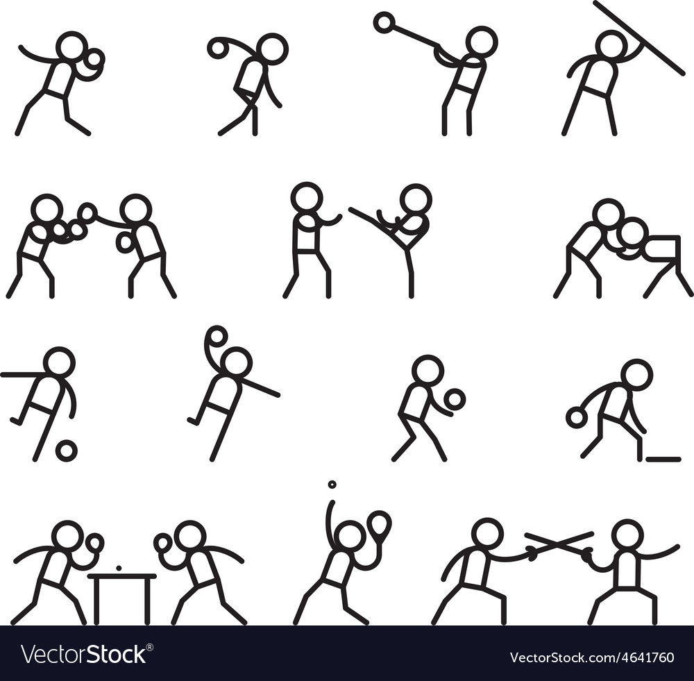 Sports and martial arts line icons vector