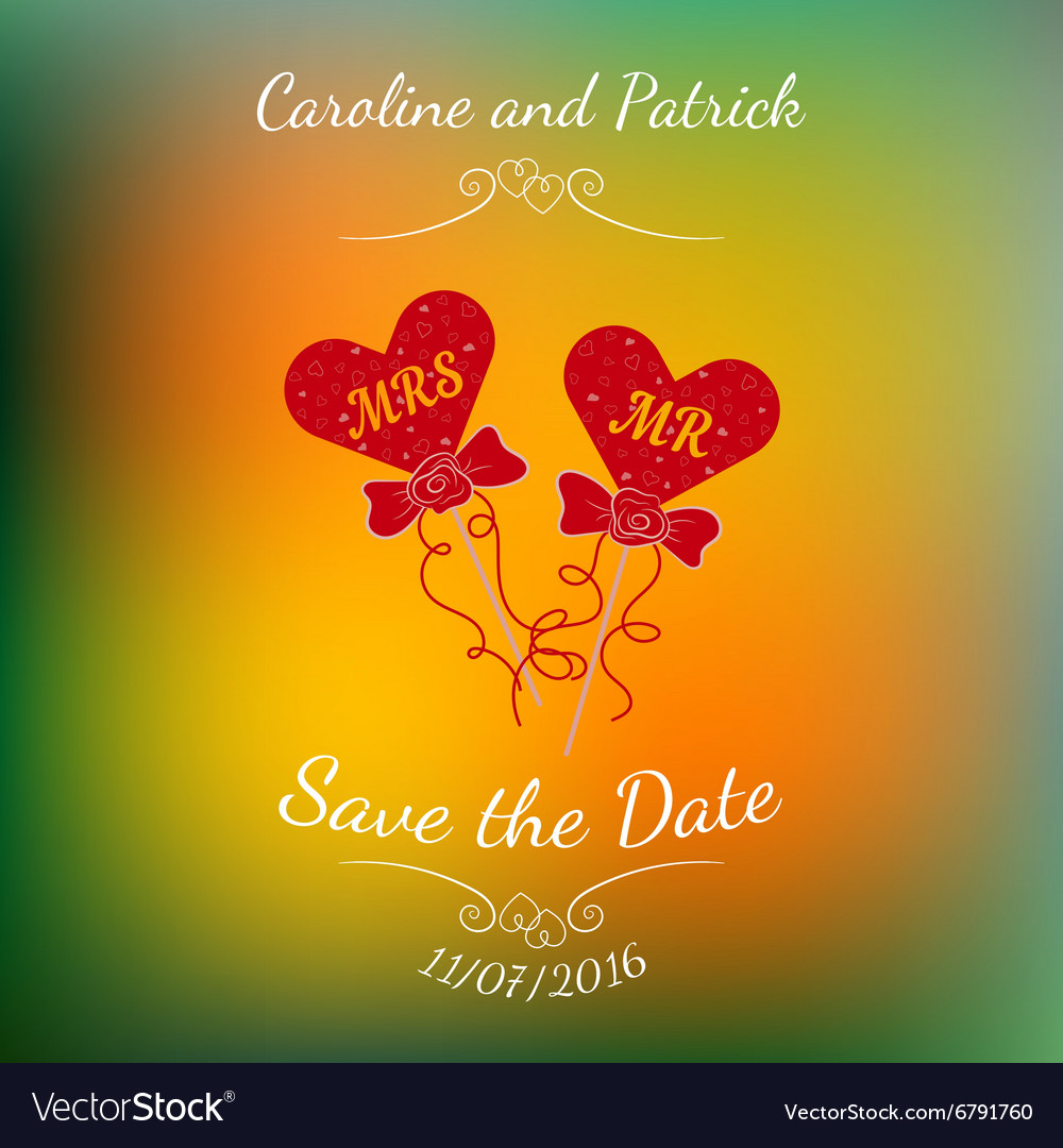 Wedding hearts mr and mrs on a stick over vector