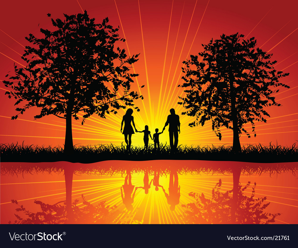 Family walking vector