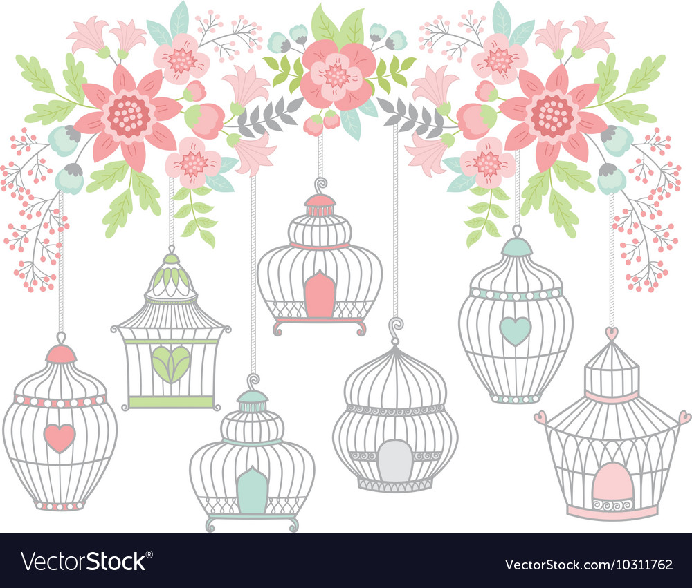 Flowers with bird cages vector