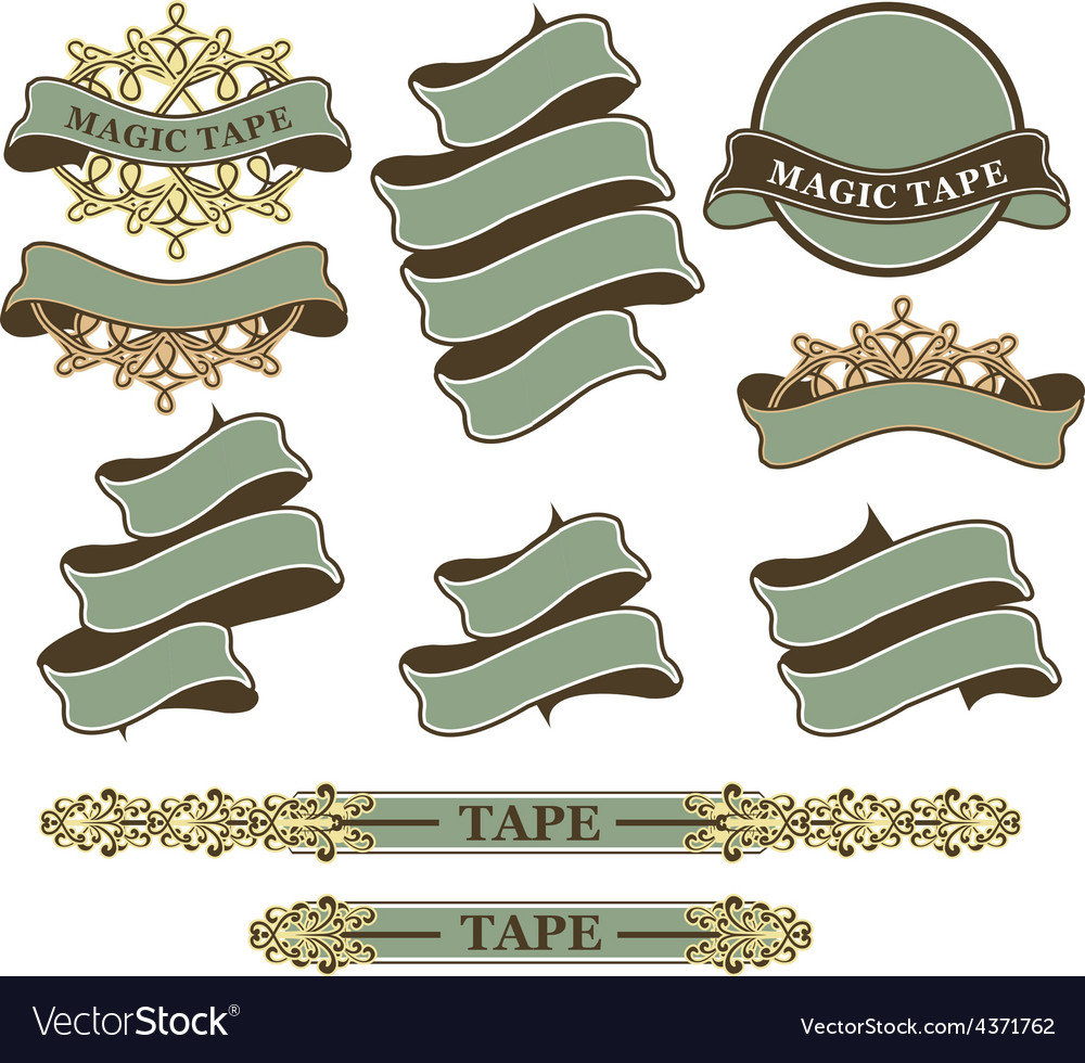 Set of vintage ribbons and banners vector