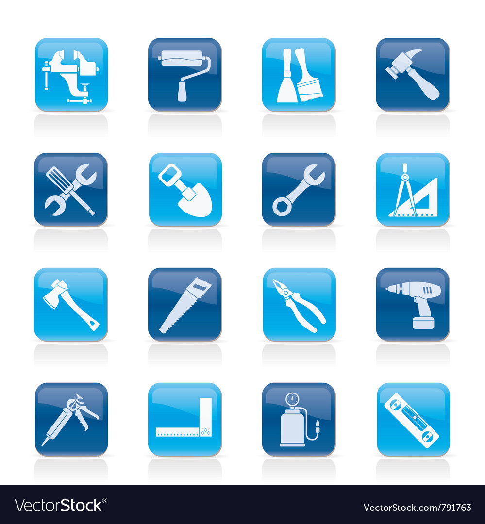 Construction work tool icons vector