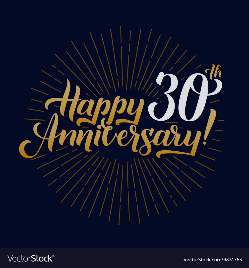 Happy anniversary calligraphic and starburst vector