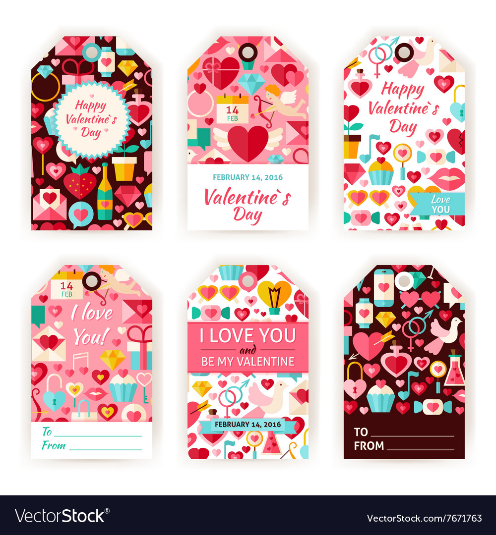 Happy valentine day gift tag template flat set vector